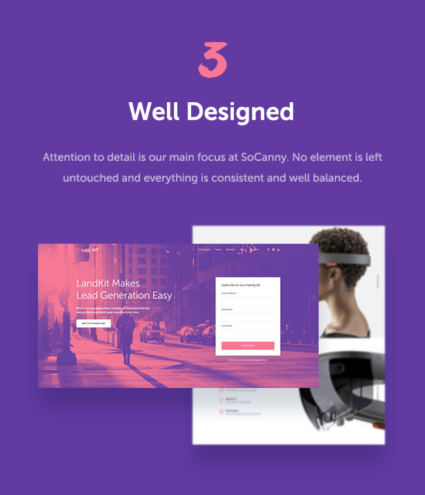well designed - Landkit - WordPress Landing Page Theme