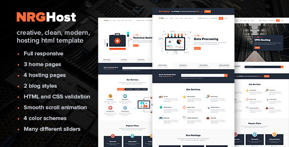 01 NRGHost HTML Preview.  large preview - NRGHost - Flat Web Hosting Template + WHMCS