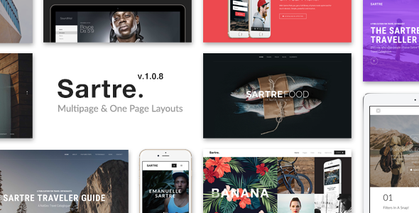 01 preview.  large preview - Sartre - Creative Multipurpose HTML Template