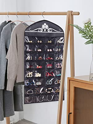 0e69cc1d ec18 4a77 bacd ec294a36ae5d.  CR0,0,2155,2873 PT0 SX300 V1    - Misslo Jewelry Hanging Non-Woven Organizer Holder 32 Pockets 18 Hook and Loops - Black
