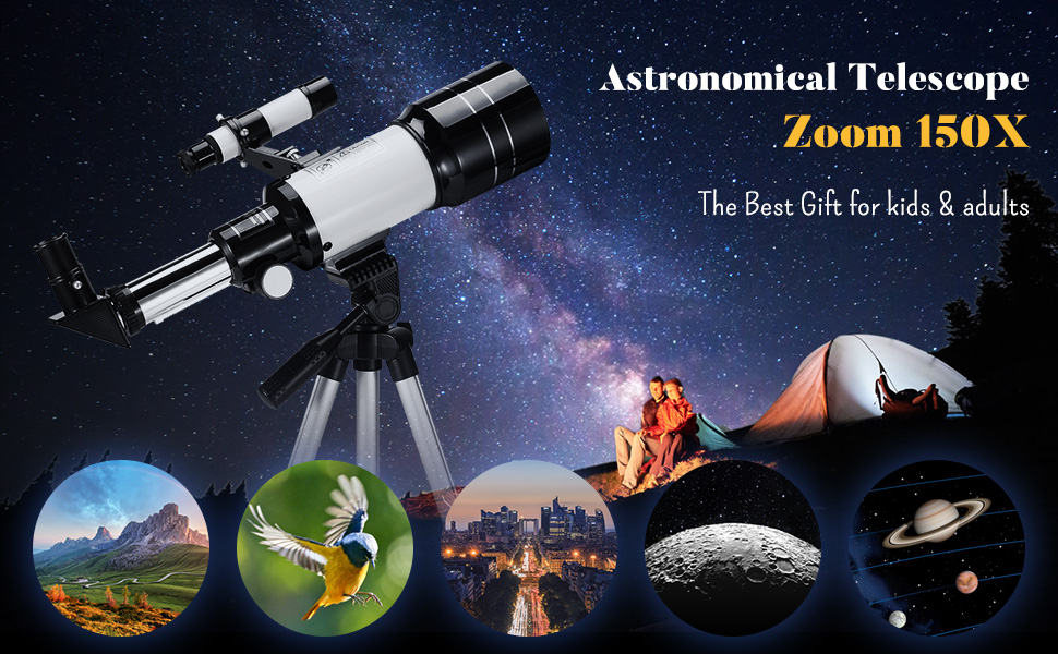 100b3d76 4ff5 4d45 a12f 87876c8f0cd1.  CR0,0,970,600 PT0 SX970 V1    - Astronomical Telescope Zoom 150X Adjustable Tripod Backpack Phone Holder for Moon Viewing - 70mm Aperture 300mm AZ Mount Astronomical Refracting Telescope for Kids Beginners