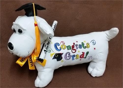 """1620031883 51vEWFLYq4L - Graduation Autograph Stuffed Dog w/ Pen, """"Congrats Grad!"""" (Black) 12"""""""
