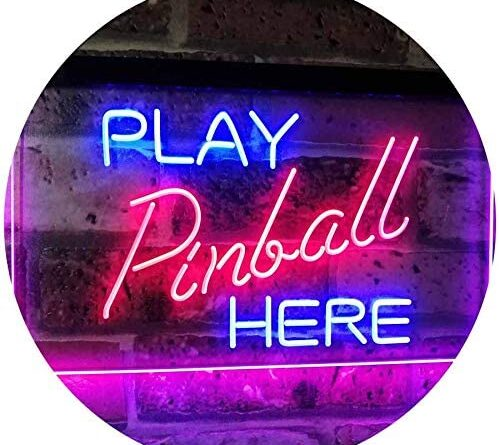 """1620724329 51B5l4ED6SL. AC  499x445 - ADVPRO Pinball Room Play Here Display Game Man Cave Décor Dual Color LED Neon Sign Blue & Red 16"""" x 12"""" st6s43-i2619-br"""