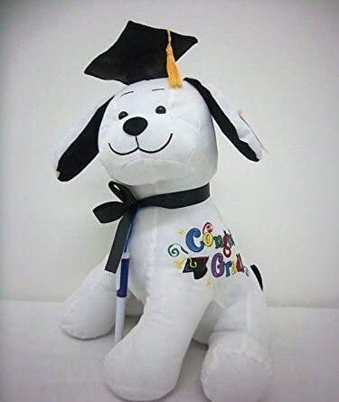1621114001 41OoKP eXPL. AC  375x445 - Graduation Autograph Stuffed Dog With Pen, Black Cap - Congrats Grad!
