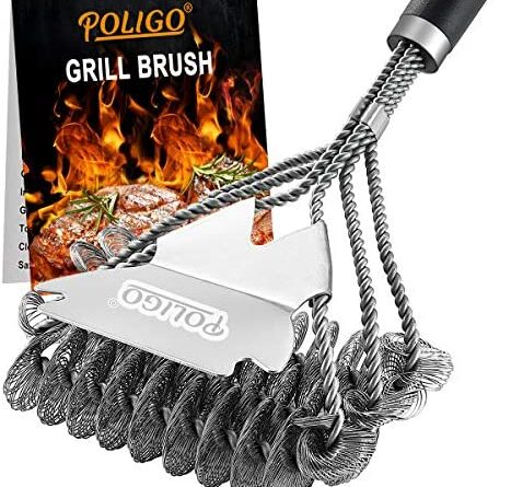 1621157402 51X HwJyv5L. AC  467x445 - POLIGO BBQ Grill Cleaning Brush Bristle Free & Scraper - Triple Helix Design Barbecue Cleaner - Non-Bristle Grill Brush and Scraper Safe for Gas Charcoal Porcelain Grills - Ideal Grill Tools Gift