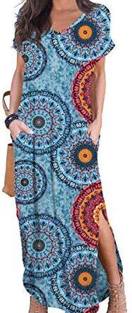 1621590061 51gwpVUCnjL. AC  188x445 - GRECERELLE Women's Casual Loose Pocket Long Dress Short Sleeve Split Maxi Dresses