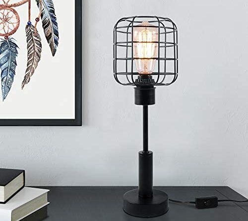 1621849785 41pzAMVPohL. AC  500x445 - Edison Lamp, Industrial Desk Lamp, Metal Shade Cage Table Lamp for Nightstand, Bedside, Dressers, Coffee Table, Night Light Home Decor, Black