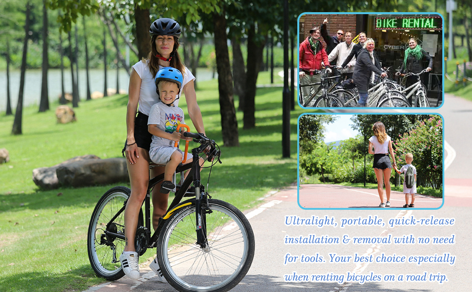 2973b85e 90d3 4fb6 bccd 48e824c72148. CR0,0,970,600 PT0 SX970   - UrRider Child Bike Seat, Portable, Foldable & Ultralight Front Mount Baby Kids' Bicycle Carrier with Handrail for Mountain Bikes, Hybrid Bikes, Fitness Bikes