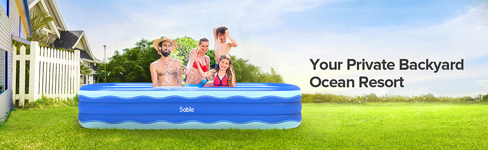 2f08bf52 9f51 4d25 920a 11c7f2b688a5.  CR0,0,970,300 PT0 SX970 V1    - Sable Inflatable Pool, 118 x 72.5 x 20in Rectangular Swimming Pool for Toddlers, Kids, Family, Above Ground, Backyard, Outdoor, Blue (SA-HF071)