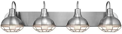 "313kCXuu+DL. AC  - Kira Home Liberty 36"" 4-Light Modern Industrial Vanity/Bathroom, Kitchen Light + Metal Cage Shades, Brushed Nickel Finish"