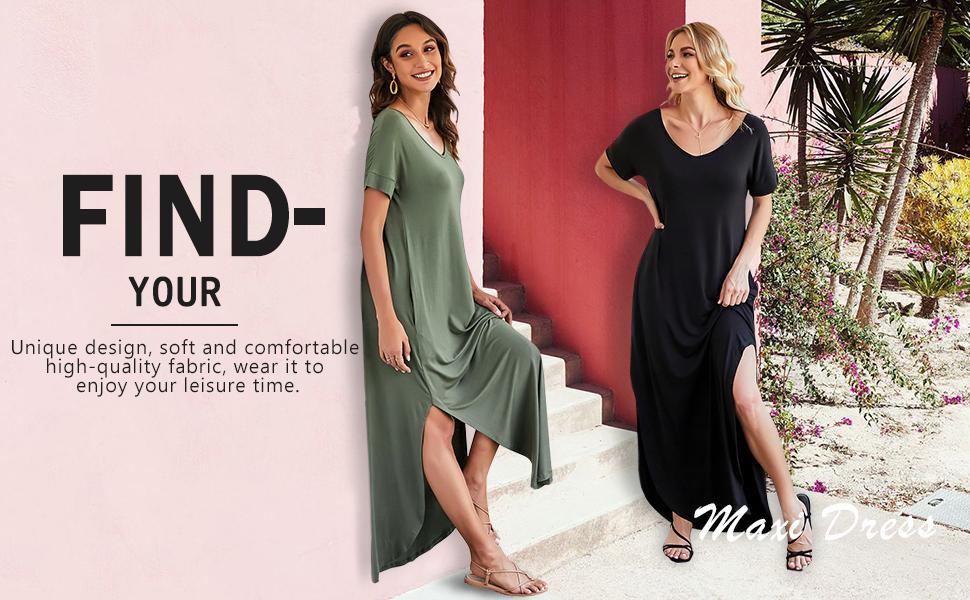 318dc4ec ec0e 45d3 a587 cf55a2f8848b.  CR0,0,970,600 PT0 SX970 V1    - GRECERELLE Women's Casual Loose Pocket Long Dress Short Sleeve Split Maxi Dresses
