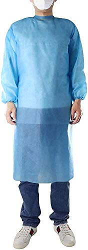 31z9SIj9cLL - 100 Pack LEVEL 1 PP Disposable Isolation Gowns with Elastic Cuff, Latex-Free, Non-Woven, Fluid Resistant, Dental, Medical, Hospital, Industries, ONE SIZE FITS ALL (100 PCS=10 Bags)