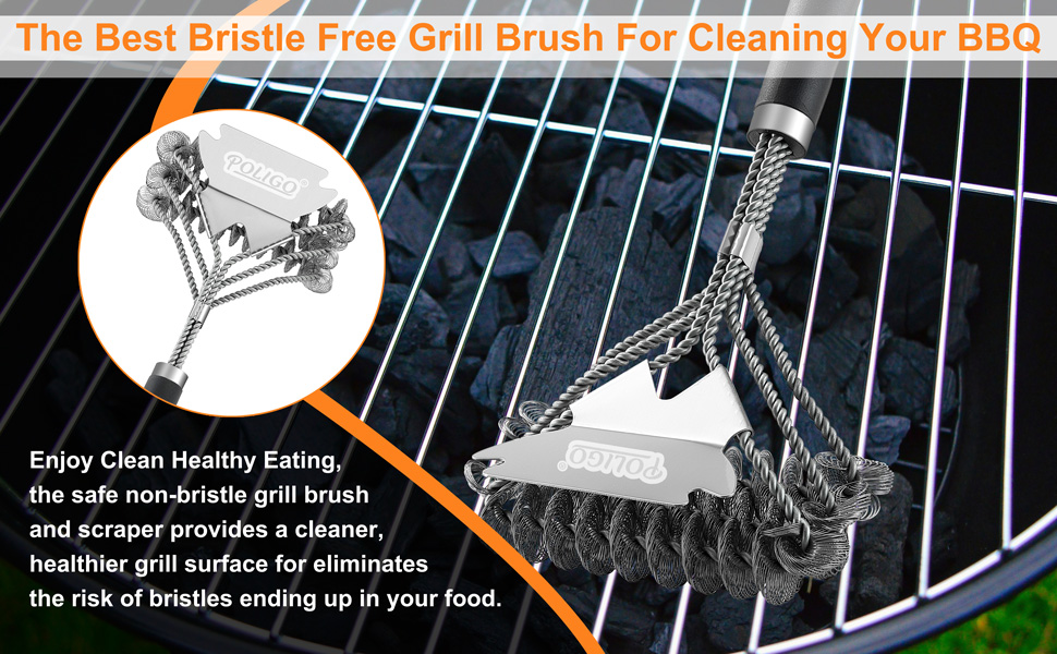 3ce49b40 2449 4ccd a21e 85e6421ec8b2.  CR0,0,970,600 PT0 SX970 V1    - POLIGO BBQ Grill Cleaning Brush Bristle Free & Scraper - Triple Helix Design Barbecue Cleaner - Non-Bristle Grill Brush and Scraper Safe for Gas Charcoal Porcelain Grills - Ideal Grill Tools Gift