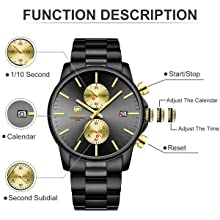 3d83f13a 4162 4d90 a025 edc0039c23f1.  CR0,0,600,600 PT0 SX220 V1    - GOLDEN HOUR Fashion Business Mens Watches with Stainless Steel Waterproof Chronograph Quartz Watch for Men, Auto Date