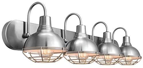 "413jkh0bLKL. AC  - Kira Home Liberty 36"" 4-Light Modern Industrial Vanity/Bathroom, Kitchen Light + Metal Cage Shades, Brushed Nickel Finish"