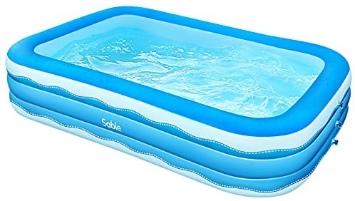 414lpNslxUS. AC  - Sable Inflatable Pool, 118 x 72.5 x 20in Rectangular Swimming Pool for Toddlers, Kids, Family, Above Ground, Backyard, Outdoor, Blue (SA-HF071)