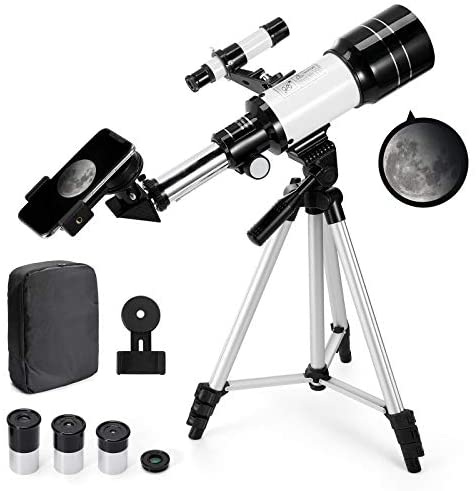 419X1IxwiRL. AC  - Astronomical Telescope Zoom 150X Adjustable Tripod Backpack Phone Holder for Moon Viewing - 70mm Aperture 300mm AZ Mount Astronomical Refracting Telescope for Kids Beginners