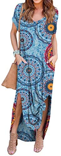 41AGWNSTHjL. AC  - GRECERELLE Women's Casual Loose Pocket Long Dress Short Sleeve Split Maxi Dresses