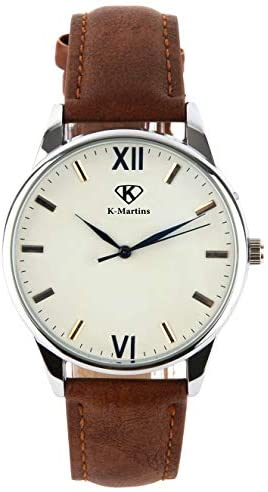 41AydrNlEgL. AC  - K-Martins Mens Wrist Watch -Quartz Analog Roman Numeral with Classic Brown Leather - Waterproof 10 Years Batteries - Fashion Casual Unique Dress - Business Office Work School Watches