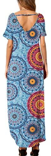 41BmPK7 TcL. AC  - GRECERELLE Women's Casual Loose Pocket Long Dress Short Sleeve Split Maxi Dresses