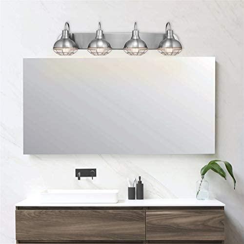 "41Cy7YykGaL. AC  - Kira Home Liberty 36"" 4-Light Modern Industrial Vanity/Bathroom, Kitchen Light + Metal Cage Shades, Brushed Nickel Finish"