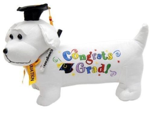 """41DuOHB6I9L - Graduation Autograph Stuffed Dog w/ Pen, """"Congrats Grad!"""" (Black) 12"""""""