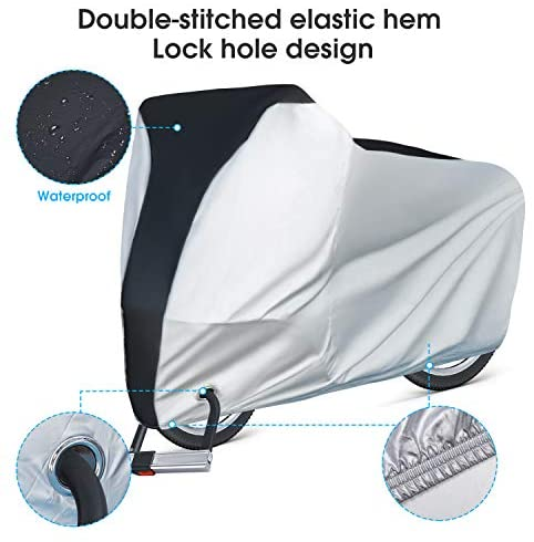 41EPq9tto4L. AC  - Puroma Bike Cover Outdoor Waterproof Bicycle Covers Rain Sun UV Dust Wind Proof with Lock Hole for Mountain Road Electric Bike