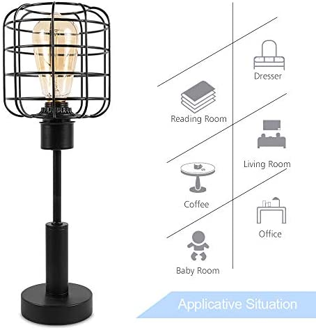 41FHU4owpjL. AC  - Edison Lamp, Industrial Desk Lamp, Metal Shade Cage Table Lamp for Nightstand, Bedside, Dressers, Coffee Table, Night Light Home Decor, Black