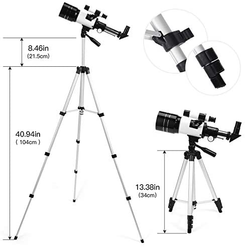 41GfxONVlLL. AC  - Astronomical Telescope Zoom 150X Adjustable Tripod Backpack Phone Holder for Moon Viewing - 70mm Aperture 300mm AZ Mount Astronomical Refracting Telescope for Kids Beginners