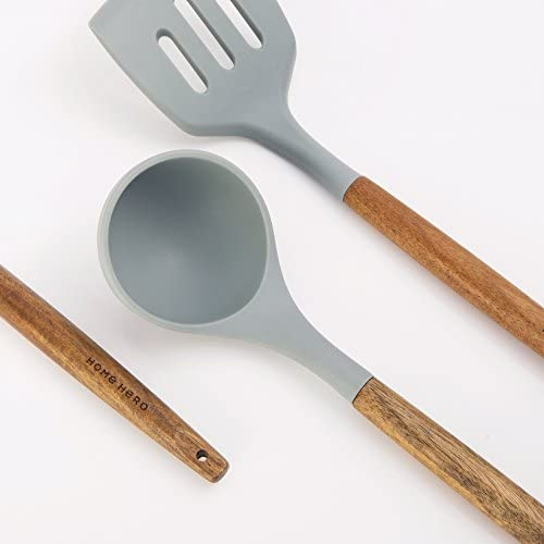 41H9XTpSRsL. AC  - Home Hero Silicone Cooking Utensils Kitchen Utensil Set - 8 Natural Acacia Wooden Silicone Kitchen Utensils Set - Silicone Utensil Set Spatula Set - Silicone Utensils Cooking Utensil Set