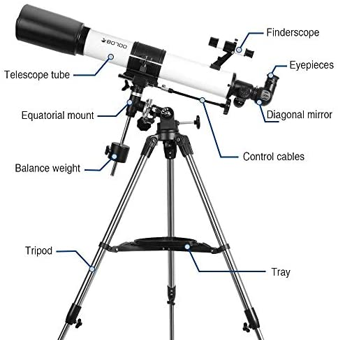41QEYS5dd6L. AC  - Telescopes for Adults, 80mm Aperture and 700mm Focal Length Astronomy Refractor Telescope for Kids and Beginners - with EQ Mount, 2 Eyepieces and Phone Adaptor