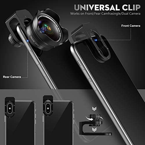 41QMbRcJ2dL. AC  - Phone Camera Lens, 5K HD 2 in 1 120° Wide Angle Lens, 20X Macro Lens,Clip-On Phone Lens Compatible iPhone,Samsung, Most Andriod Phones No Distortion