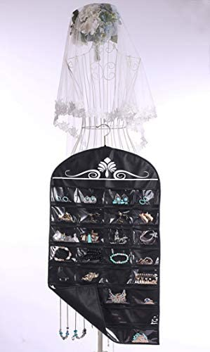 41RaA8Ks1wL. AC  - Misslo Jewelry Hanging Non-Woven Organizer Holder 32 Pockets 18 Hook and Loops - Black