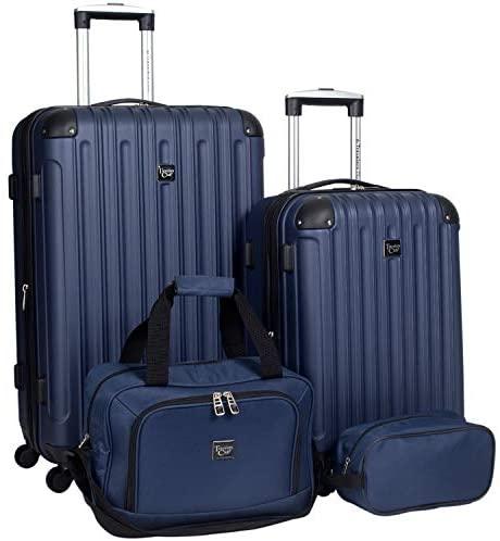 41TcP58PlmL. AC  - Travelers Club Midtown Hardside 4-Piece Luggage Travel Set, Navy Blue