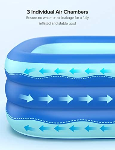 41UMVZS63ML. AC  - Sable Inflatable Pool, 118 x 72.5 x 20in Rectangular Swimming Pool for Toddlers, Kids, Family, Above Ground, Backyard, Outdoor, Blue (SA-HF071)