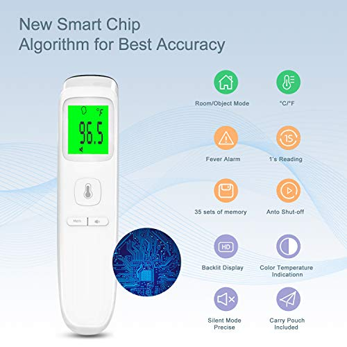 41WkOaY2S7L - XDX Thermometer for Adults Forehead, No Touch Thermometer with Fever Alarm and Memory Ideal for Babies, Kids, Adults, Indoor Outdoor Medical Use