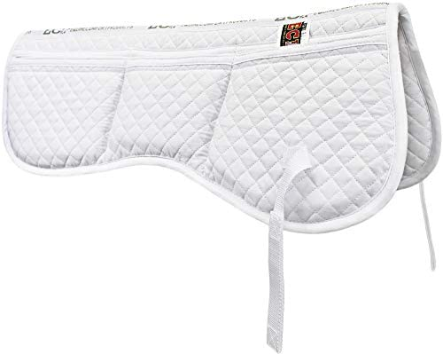 41ctMPsfobL. AC  - ECP All Purpose Diamond Quilted Poly Cotton English Half Saddle Pad with Therapeutic Contoured Correction Support Pockets, 18 Memory Foam Shims Included