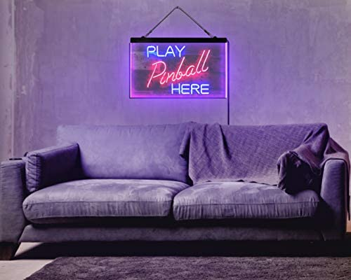 """41efHYUVvrL. AC  - ADVPRO Pinball Room Play Here Display Game Man Cave Décor Dual Color LED Neon Sign Blue & Red 16"""" x 12"""" st6s43-i2619-br"""