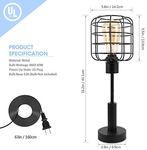 41jSisNBqXL. AC  - Edison Lamp, Industrial Desk Lamp, Metal Shade Cage Table Lamp for Nightstand, Bedside, Dressers, Coffee Table, Night Light Home Decor, Black