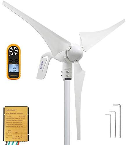 41kIpuwaqsL. AC  - Pikasola Wind Turbine Generator 400W 12V with 3 Blade 2.5m/s Low Wind Speed Starting Wind Turbines with Charge Controller, Windmill for Home