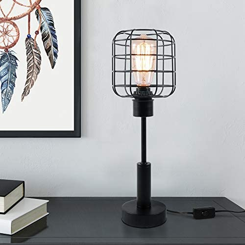 41pzAMVPohL. AC  - Edison Lamp, Industrial Desk Lamp, Metal Shade Cage Table Lamp for Nightstand, Bedside, Dressers, Coffee Table, Night Light Home Decor, Black