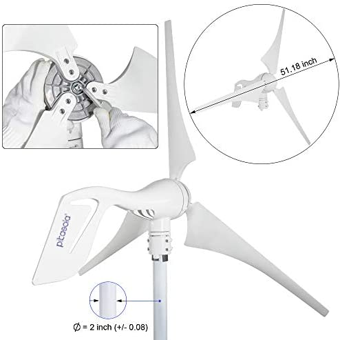 41tdOzjlv2L. AC  - Pikasola Wind Turbine Generator 400W 12V with 3 Blade 2.5m/s Low Wind Speed Starting Wind Turbines with Charge Controller, Windmill for Home
