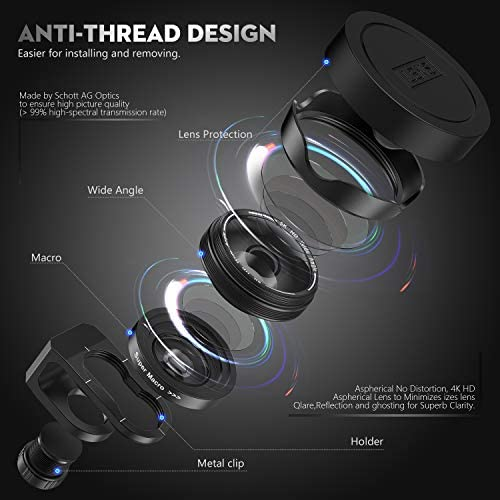 41tz9x8+UvL. AC  - Phone Camera Lens, 5K HD 2 in 1 120° Wide Angle Lens, 20X Macro Lens,Clip-On Phone Lens Compatible iPhone,Samsung, Most Andriod Phones No Distortion