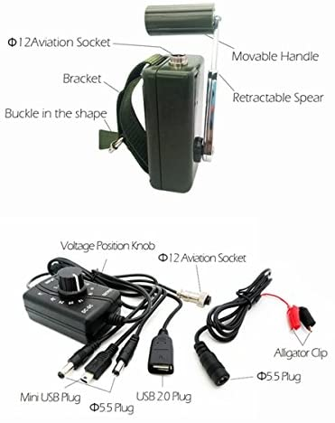 41u5g+6uU7L. AC  - Hand Crank Generator High Power Charger for Outdoor Mobile Phone Computer Charging 30W / 0-28V with USB Plug (Green Generator + DC Regulator)