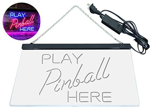 """41wtrDE72QL. AC  - ADVPRO Pinball Room Play Here Display Game Man Cave Décor Dual Color LED Neon Sign Blue & Red 16"""" x 12"""" st6s43-i2619-br"""