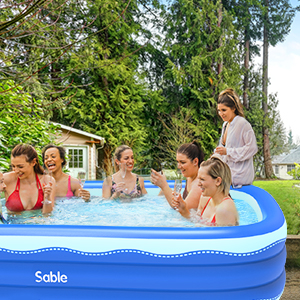 425100c0 cfab 4e3b b9e1 5adc89416344.  CR0,0,300,300 PT0 SX300 V1    - Sable Inflatable Pool, 118 x 72.5 x 20in Rectangular Swimming Pool for Toddlers, Kids, Family, Above Ground, Backyard, Outdoor, Blue (SA-HF071)