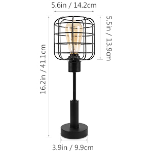 45b6033d cc41 47c3 99e5 c1e89c861e3d.  CR0,0,300,300 PT0 SX300 V1    - Edison Lamp, Industrial Desk Lamp, Metal Shade Cage Table Lamp for Nightstand, Bedside, Dressers, Coffee Table, Night Light Home Decor, Black