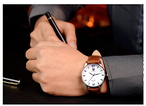 51 tCZ1iM4L. AC  - K-Martins Mens Wrist Watch -Quartz Analog Roman Numeral with Classic Brown Leather - Waterproof 10 Years Batteries - Fashion Casual Unique Dress - Business Office Work School Watches