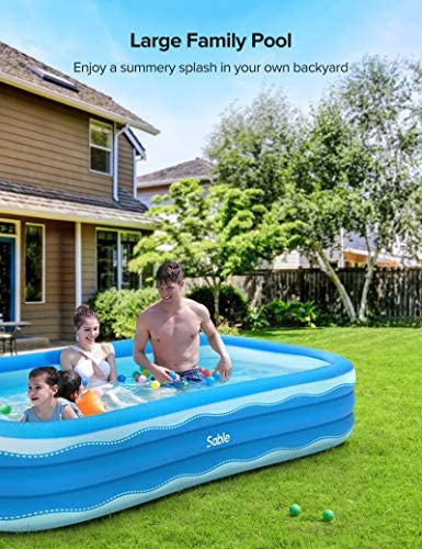 511e0oJIfAL. AC  - Sable Inflatable Pool, 118 x 72.5 x 20in Rectangular Swimming Pool for Toddlers, Kids, Family, Above Ground, Backyard, Outdoor, Blue (SA-HF071)