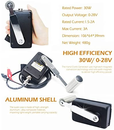 512BEiQiMaL. AC  - Hand Crank Generator High Power Charger for Outdoor Mobile Phone Computer Charging 30W / 0-28V with USB Plug (Green Generator + DC Regulator)